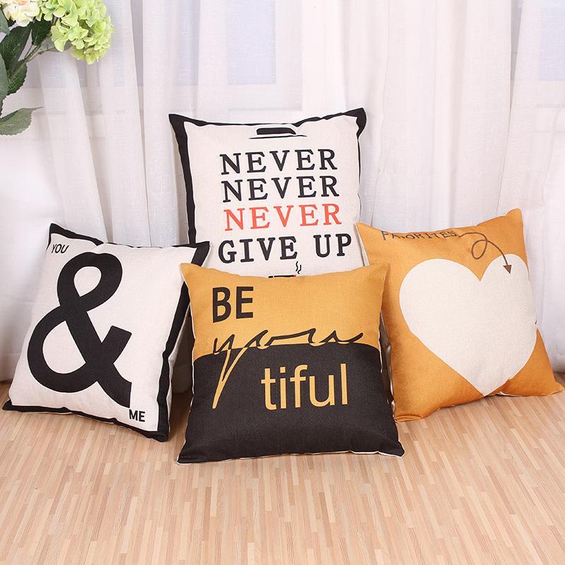 Harf baskılı dekoratif yastık kılıfı keten yastık kılıfı sandalye ev dekorasyon 45 * 45cm Yastık Kılıfı