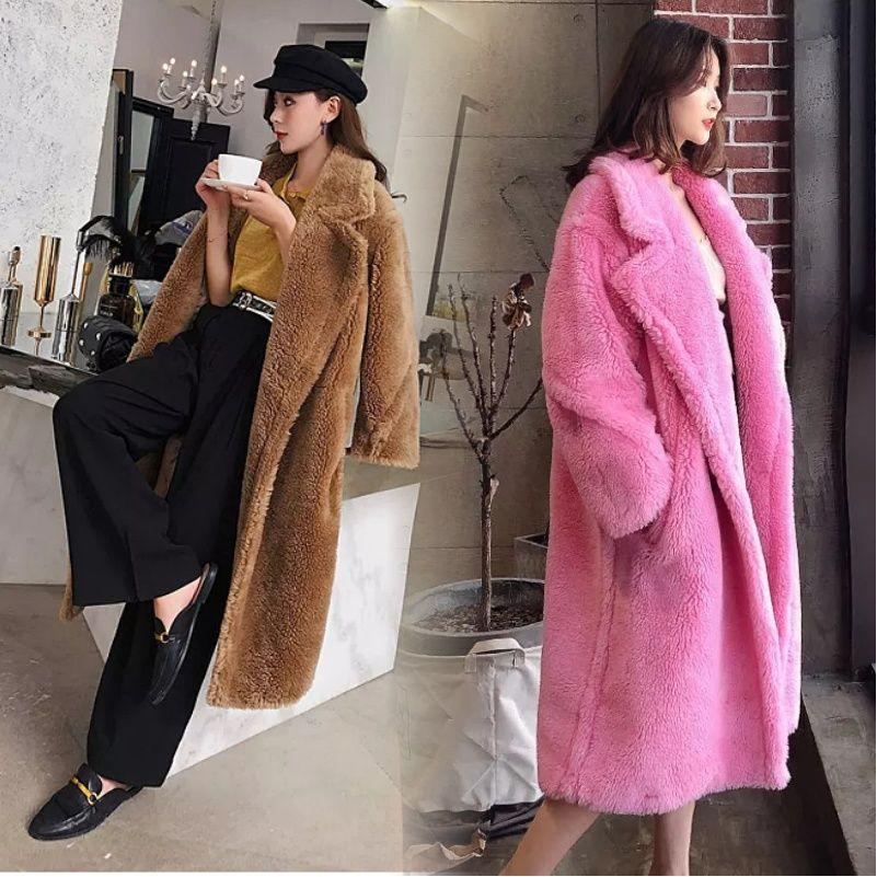 Faux Fur Coat Teddy Bear Fleece Jackets Womens Overcoat Warm Long Parka