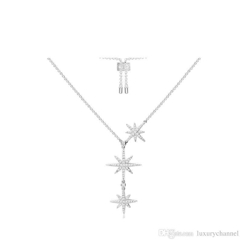 APM Monaco argento intarsiato diamante luce lusso doppia collana di meteorite esagonale catena femminile ciondolo catena clavicola catena del collo semplice