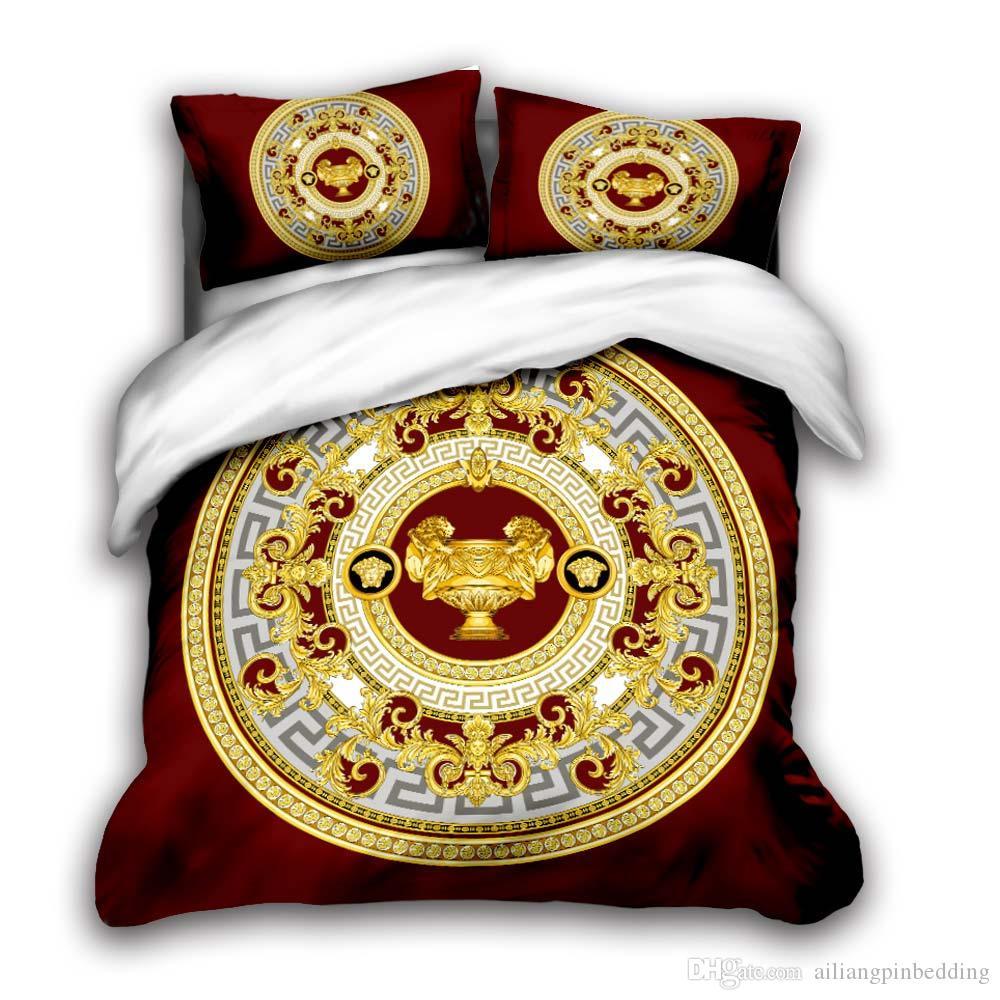 letti di design 3D imposta king size di lusso della trapunta cuscino coperchio della scatola matrimoniale copripiumino letto del design trapunte set v2