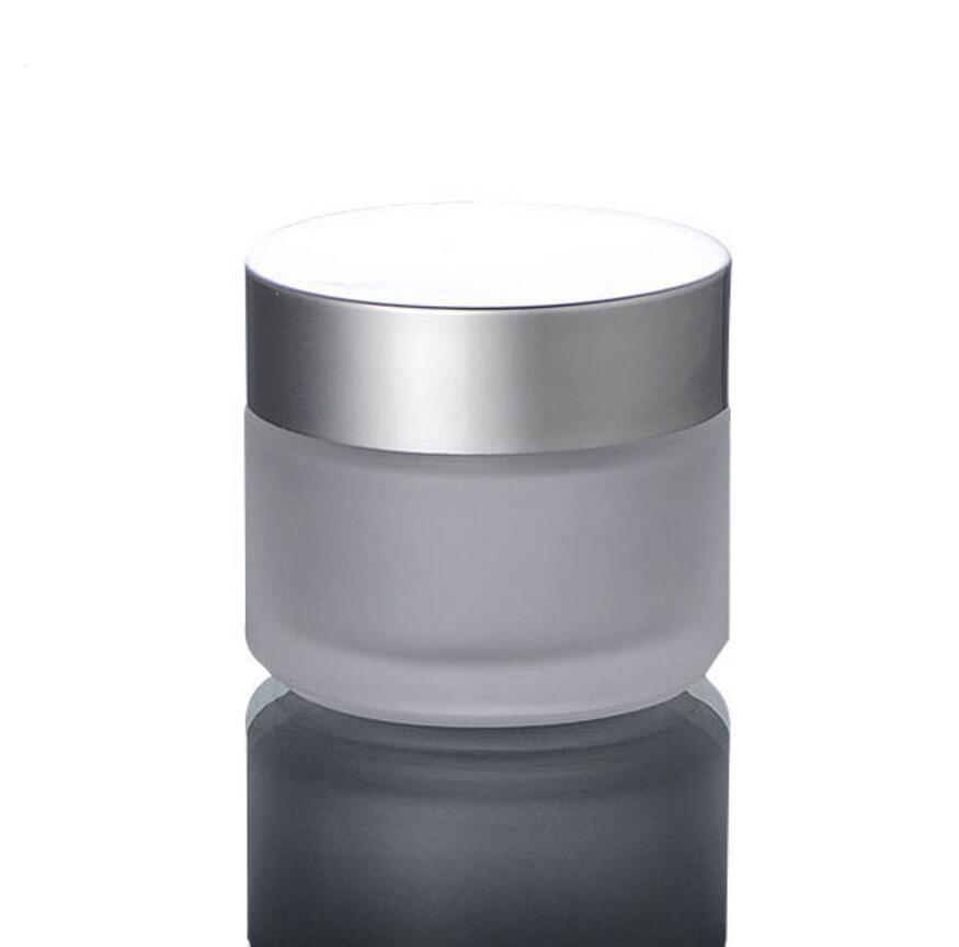 100pcs / lot 100G Frost Glassahneglas mit Silberkuppe, 10ml Glasverpackungen Gläser, Kosmetikglas Gläser