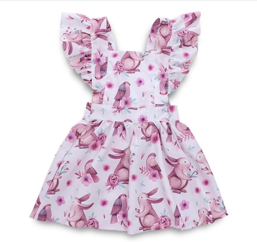 Girl Rabbit Floral Print Flying Sleeve Dress Baby Infant Skirt Kids Clothes ZHT 163