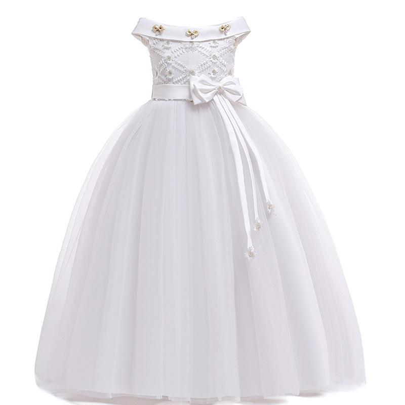 Satin Wedding Flower Girl Dress Holy Communion Prom Party Princess Pageant Dress