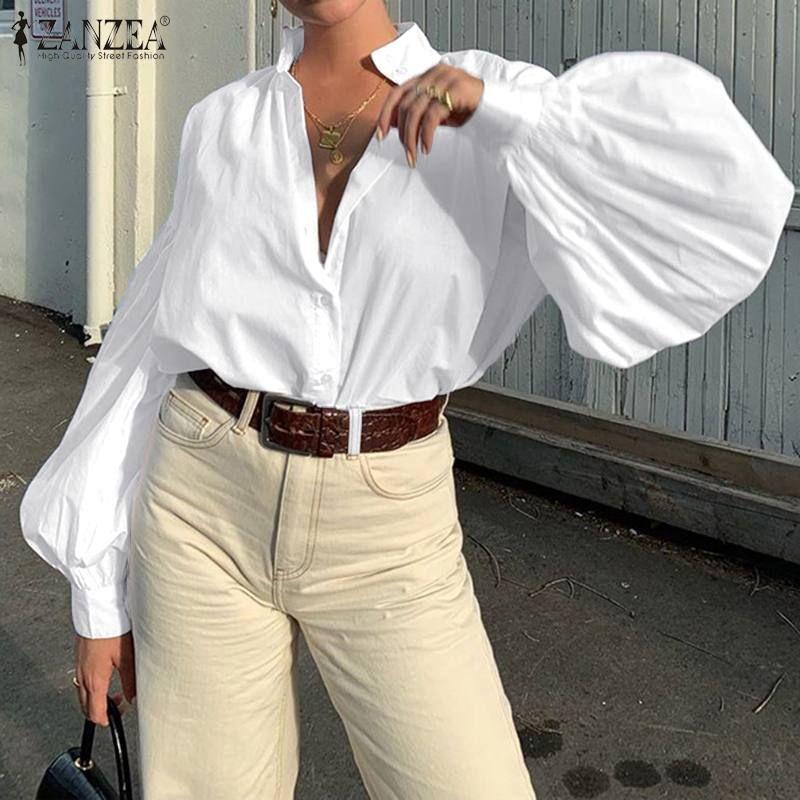 Blusas Top 2020 ZANZEA Spring Solid Work Блуза моды нагрудные партии мундир Топы Рубашки мужские Женщины Повседневная Длинные слоеного рукав Женский