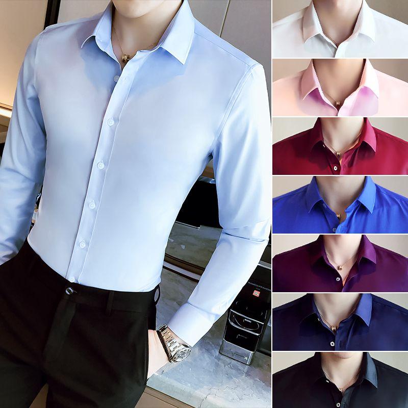 Camisa de los hombres de manga larga Slim Fit negocio sólido para las camisas formales Otoño blanco camisa de los hombres