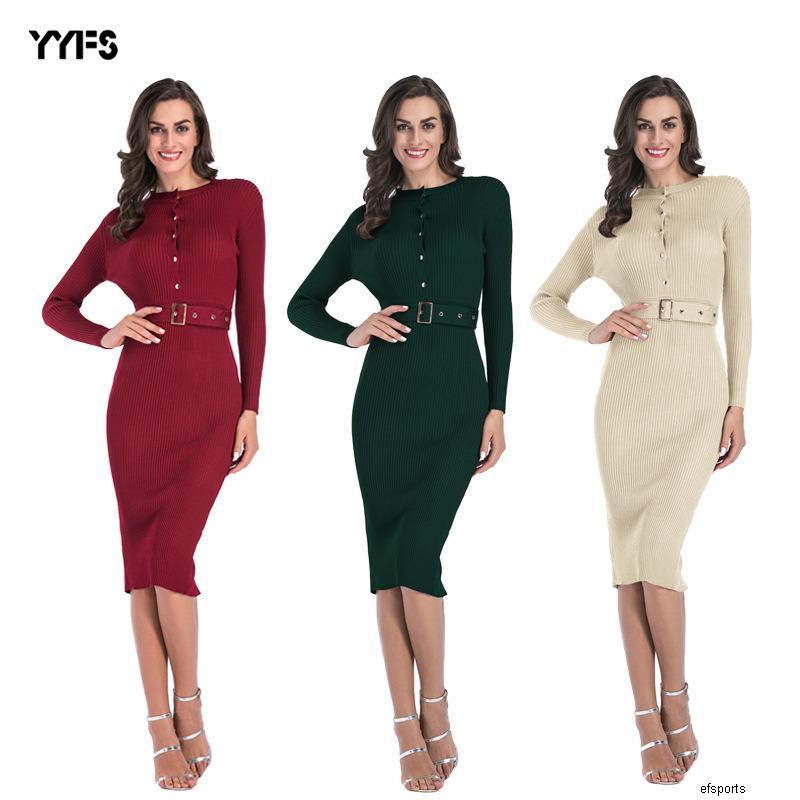 mulheres botão designer de peito vestido cor sólida slim fit bolsa de cintura quadril skirtHUTHH
