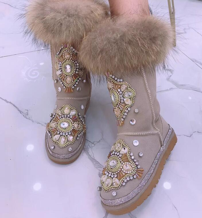 Customized heavy work tide brand beaded rhinestone cattle suede upper lining wool lady warm wool ball snow boots