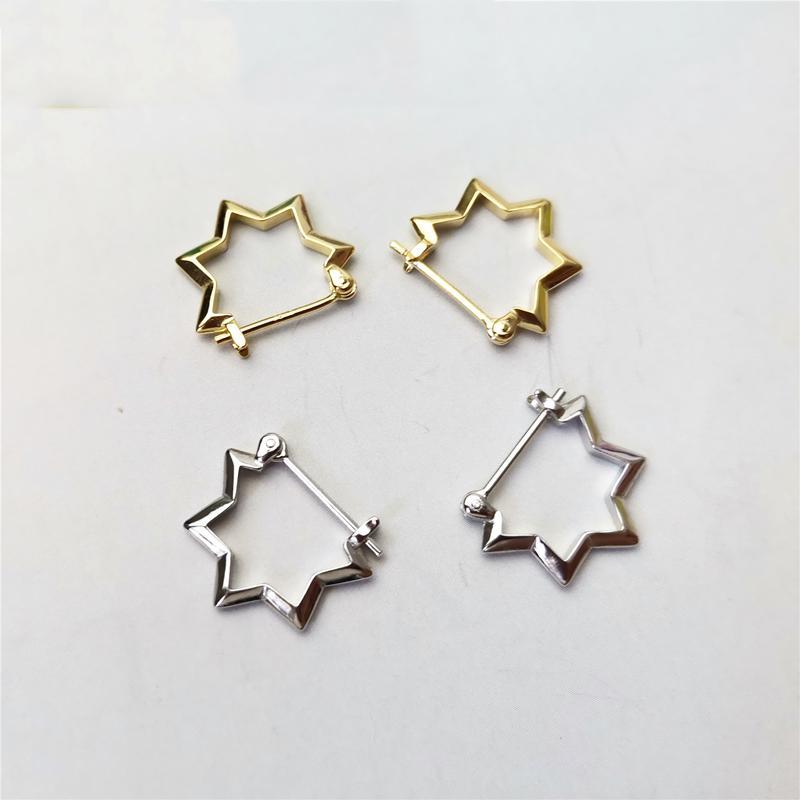 WTLTC Real 925 Sterling Sliver Star Hoop Earrings for Women Minimal Ear Piercing Earrings Punk Style Charms Hoops