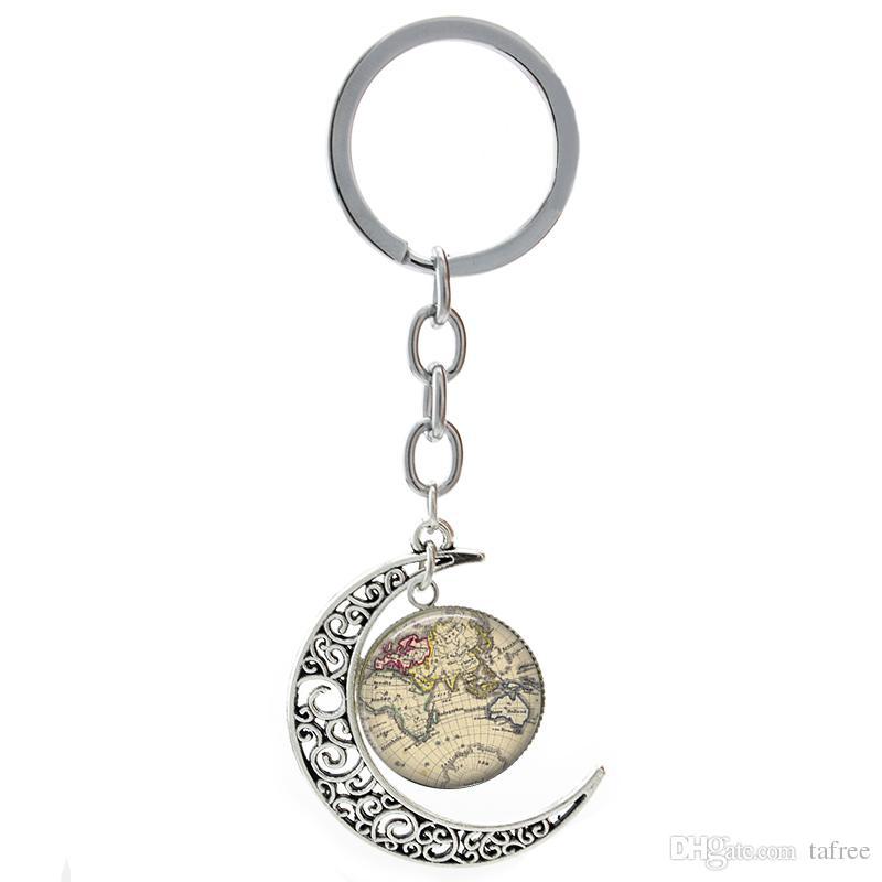 TAFREE moon pendant keychain fashion dental tools hospital Oral Hygienist doctor nurse key chain Earth World Map City Map T156
