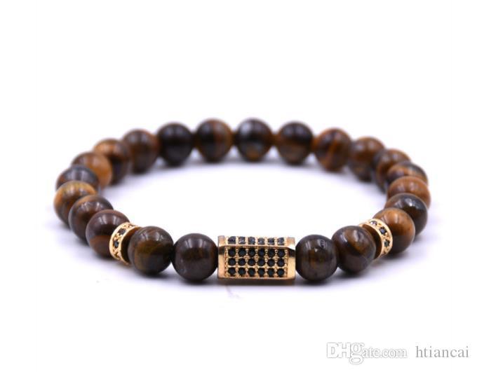 Natural Stone Beads Buddha Bracelet Brown Tiger Eyes Yoga Meditation Braclet Gold Zircon For Men Women Hand Jewelry Homme