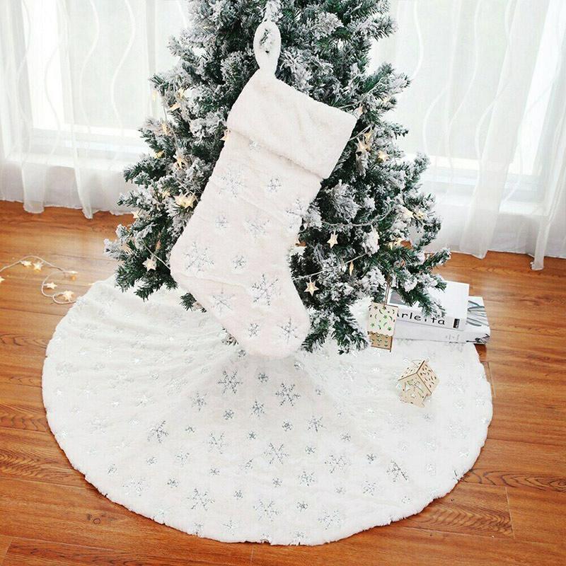 Рождественская елка юбки круглый Снежинка вышивка Рождественская елка юбка обложка декор SNO88