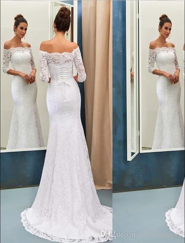 Maßgeschneiderte Whole Lace White Mermaid Brautkleider aus der Schulter halben Sweep Zug formale Braut Brautkleider schnüren