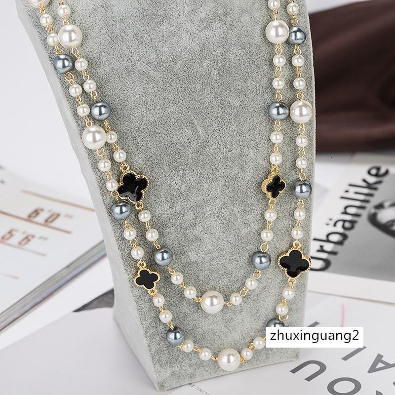 جودة عالية لؤلؤة تقليد قلادة طويلة النساء والمجوهرات حزب أنيقة طبقة مزدوجة قلادة من الذهب