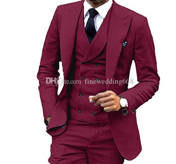 Newest One Button Groomsmen Peak Lapel Wedding Groom Tuxedos Men Suits Wedding/Prom/Dinner Best Man Blazer(Jacket+Tie+Vest+Pants) 601