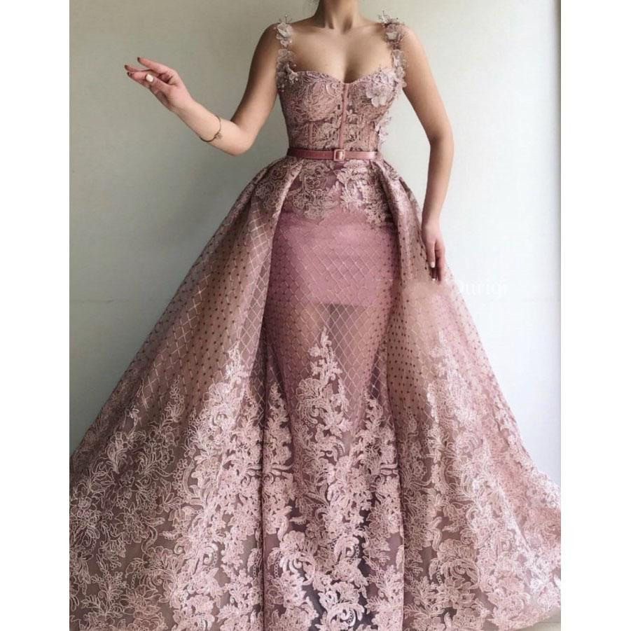 2020 Dusty Pink Evening Gowns Removable Skirt Sleeveless Spaghetti Robe De Soiree Longue Floral Prom Gown Evening Party Dress Y19051001 From Qiyue03 192 68 Dhgate Com