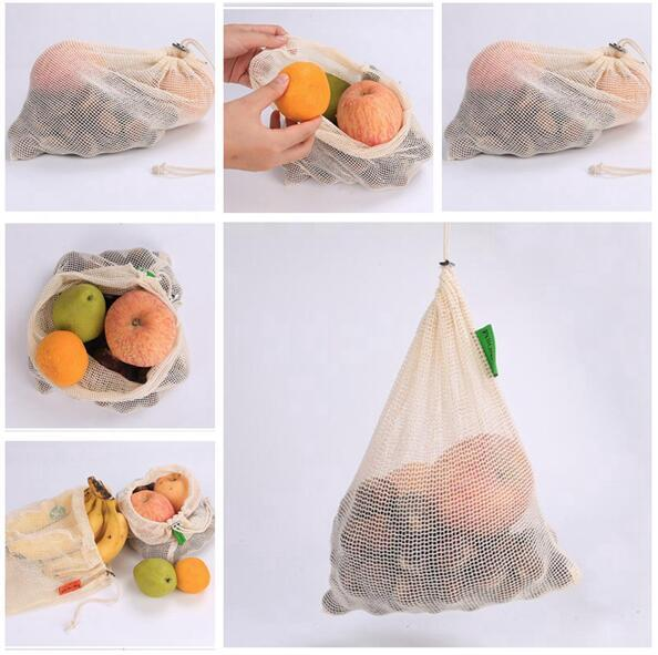 Shopping Bag Mesh Fruit Vegetable Produce Bags Washable Eco Friendly Bags for Grocery Shopping Storage Toys Sundries Bag Free Shipping