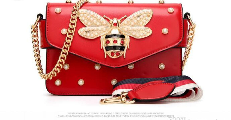 Mujeres Color de empalme Pequeña abeja bolso de la manera Magneti bolsos de lujo del diseñador bolsos de hombro informal bolsa de mensajero del bolso de cruz cuerpo 98
