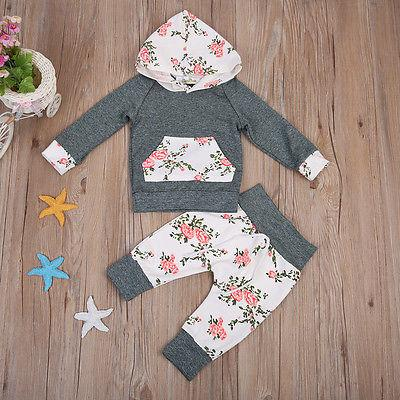 Neonato appena nato floreali ragazza vestiti maniche lunghe con cappuccio Top + floreale pantaloni lunghi Leggings Outfits Set