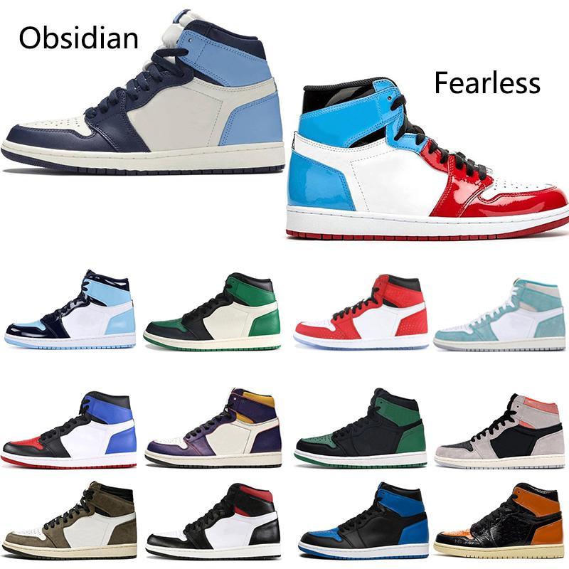 Топ доставленных женщин людей 1 Баскетбол Обувь 1S Obsidian Бесстрашный UNC Tubro Green Трэвис Скотт Royal Blue Мужские дизайнер Кроссовки Кроссовки