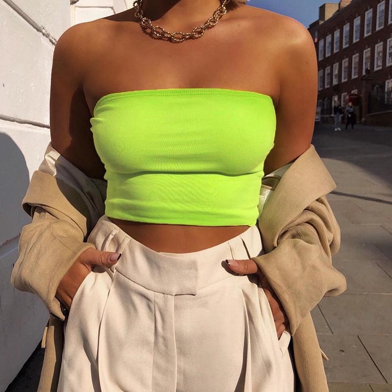 2019 مثير المعتوه الأعلى أنبوب نيون الخضراء موجز المرأة تانك الأعلى الصيف قصير ضمادة الهيئة غير الرسمية Camiseta موهير