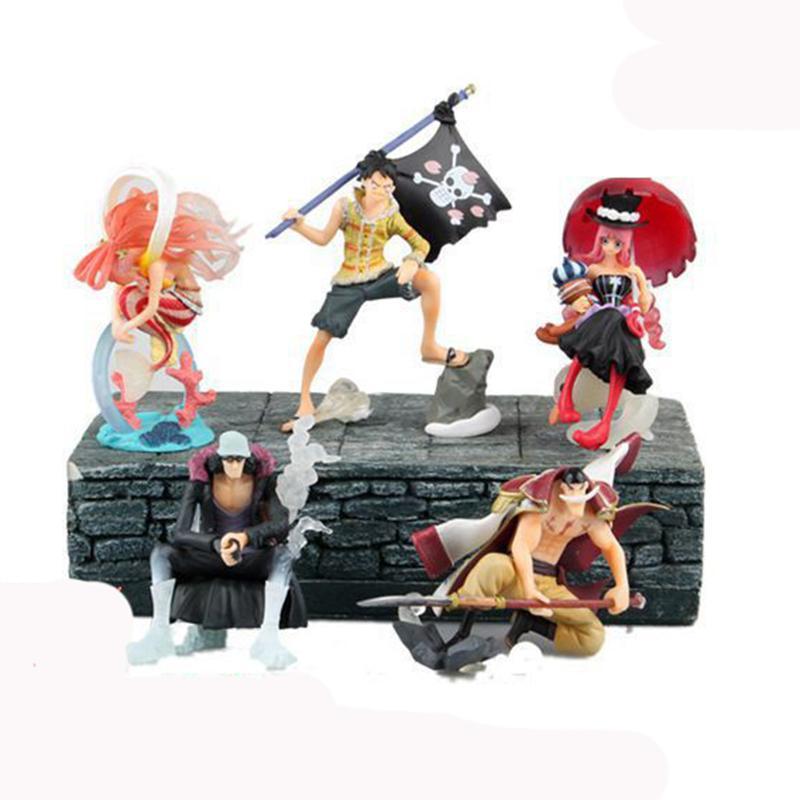 Новый 5шт горячей продажи / комплект One Piece Монка Д. Луффи Перон Эдвард Newgate Kuzan Shirahoshi 10CM ПВХ подарок для детей освобождают перевозку груза
