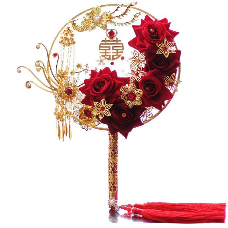 2019 artesanal personalizado bouquets de noiva chineses palavra fã fã fã estilo antigo Photo Show Wo roupas