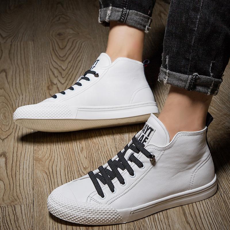 High Top Мужчина кожаных ботинок способ High Tops Чол сапожки мужской случайные кроссовки водонепроницаемой Узелок Flats сплошного цвета обувь