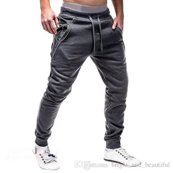 Tops Muscle GYM Explosive Fashion Zipper Pantalon pur coton pour hommes, cordon de serrage pour hommes