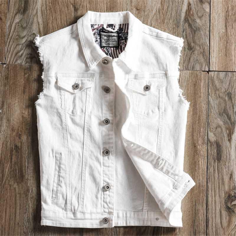 Slim Fit denim blanco Negro Los nuevos hombres de la manera del chaleco de los agujeros de botones jeans rasgados chaleco sin mangas de la chaqueta sin mangas