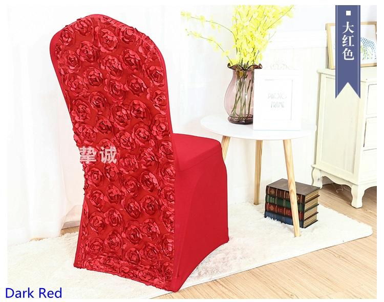 Dark Red colour spandex chair covers Rosette chair cover rose flower design Lycra for wedding banquet hotel decoration