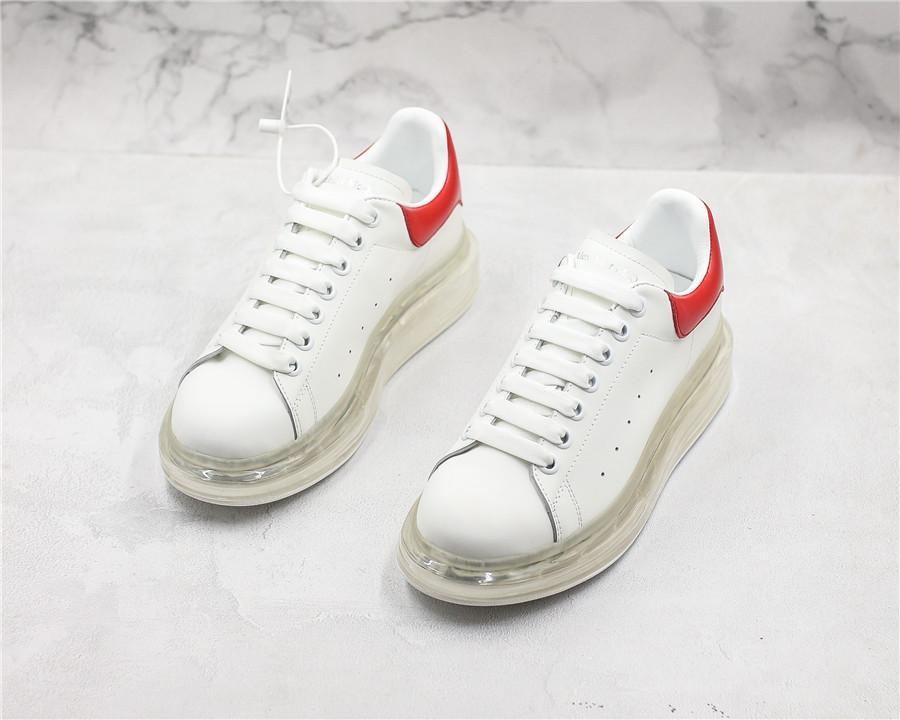 Masculino Desenhador fêmea Almofada Sneakers Air Sapatos clássicos de moda sapatos de plataforma de couro liso Branca Formadores casual para homens Mulheres D0801