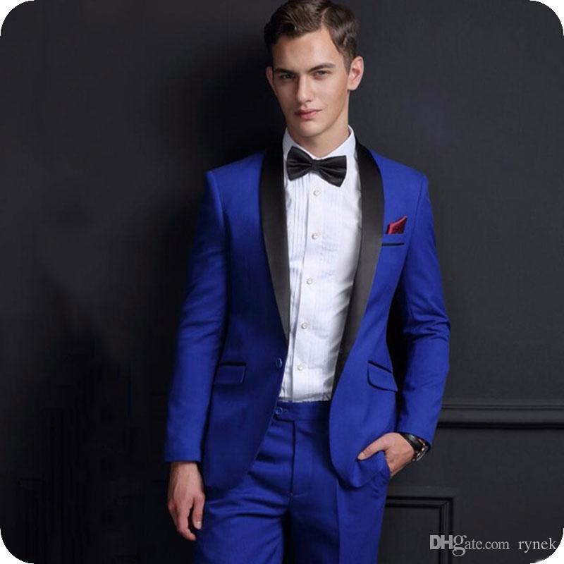 Custom Made Royal Blue Groom Tuxedos Men Suits for Wedding Man Suit Blazers Jacket Black Shawl Lapel 2Piece(Coat+Pants) Terno Masculino