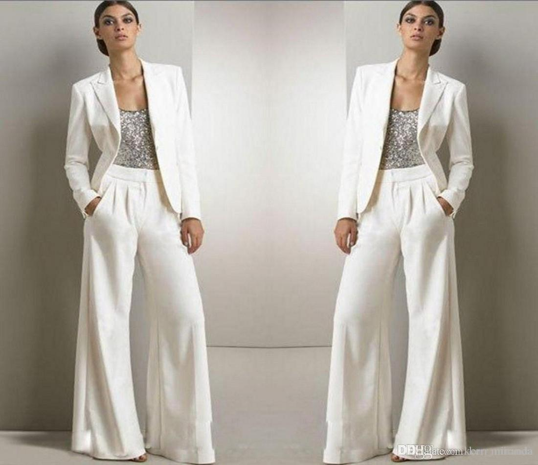 New Bling Sequins Ivory White Pants Suits Mother Of The Bride Dresses Formal Chiffon Tuxedos Women Party Wear New Fashion Modest
