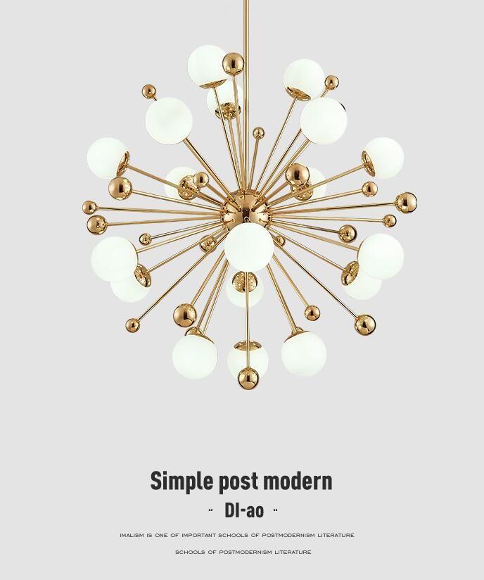 Nordic LED meal pendant lamps postmodern creative personality dandelion glass ball American simple bedroom pendant lights