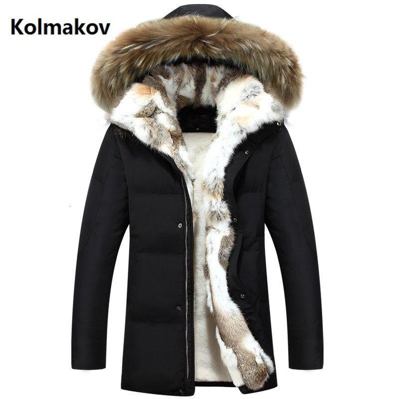 2019 Uomini e donne di inverno di alta qualità giù capelli giù giacca casual addensare parka uomini cappotto gli uomini della giacca del coniglio di modo S-5XL SH190929