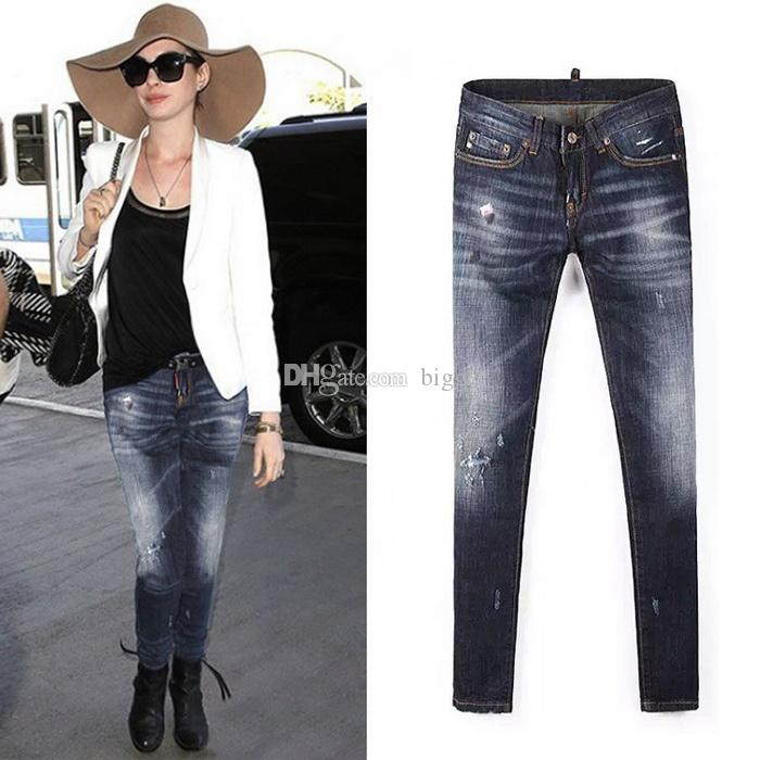 Nice Quality Woman Jeans European And American Style Damage Patchwork Cowboy Jeans Female Fade Wash Denim Pants Ladies
