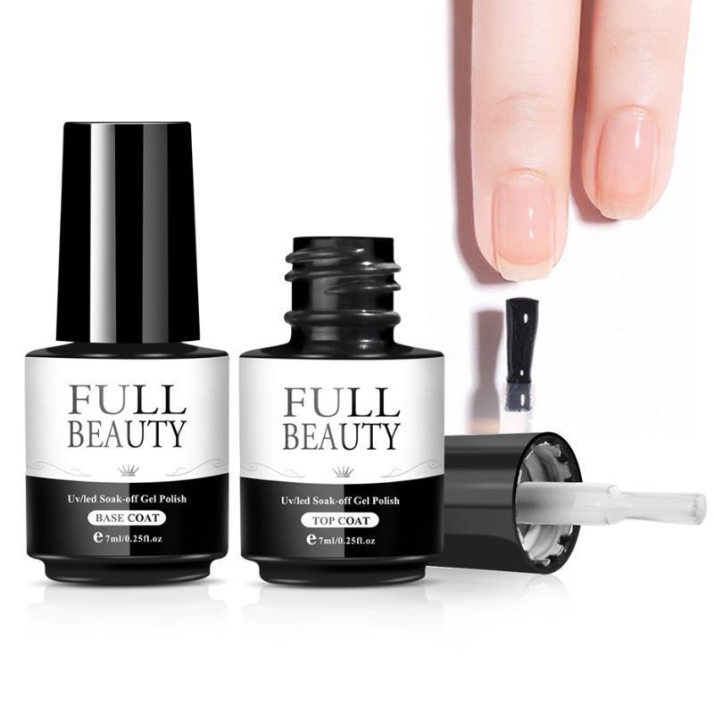 7 ml Gel UV Esmalte de uñas No Wipe Top Coat Capa base transparente empapa de Larga Duración Laca Barniz Fundación herramienta SA1571-2