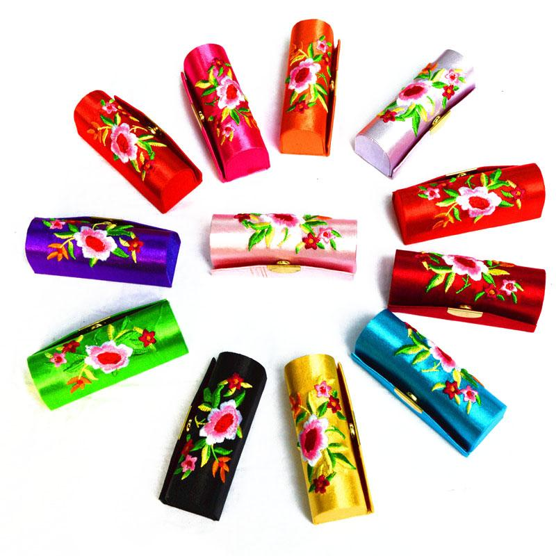 Vintage Chinese Style Brocade Embroidered Female Lipstick Box Cosmetic Case Make Up Mirror Bridal Wedding Favors And Gifts