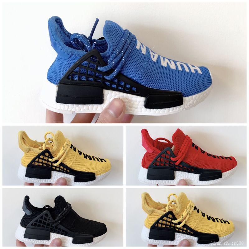 High Quality Human Race Knitting Kids Athletic hu Shoes Original Human Race Kids Running Sneaker size 26-35
