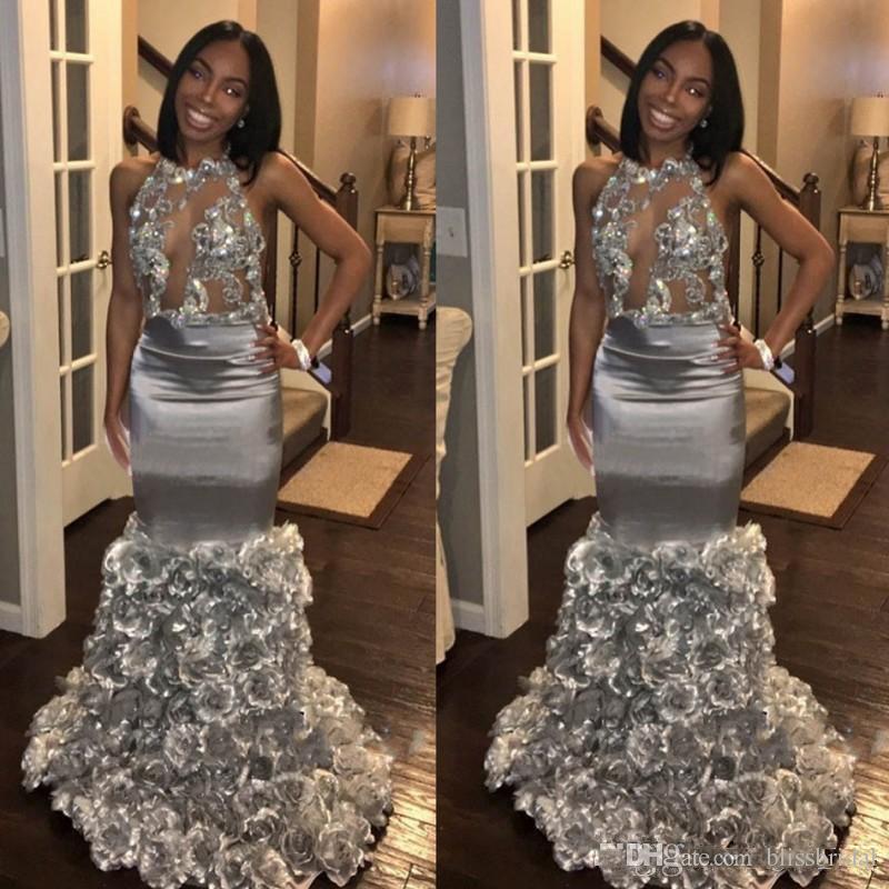 Sexy Keyhole Mermaid Silver Vestidos de baile 2019 Black Girls Vestidos de noche formales Falda floral en 3D Lentejuelas de encaje Top Vestidos de fiesta