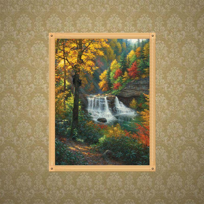 Árbol de la caída de agua completa bricolaje taladro 5D Rhinestone redondo bordado diamante Pintura caballo cruz kits de punto Mosaice ornamental