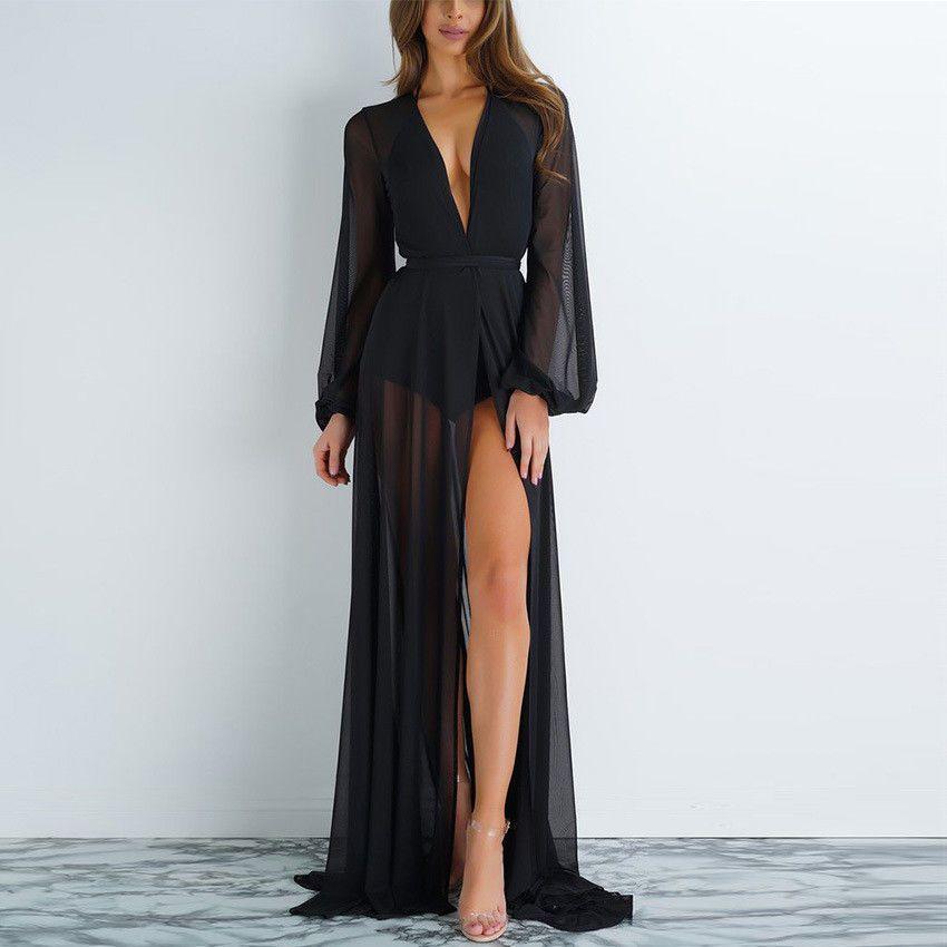 Le donne della cavità del merletto Crochet Swimwear Bikini manica lunga Cover Up Beach vestito solido Tops Colore Cover Up
