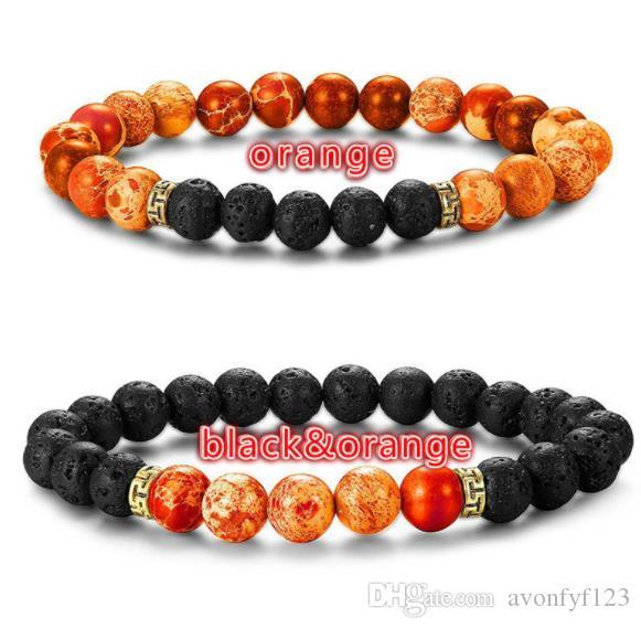 plus récent hommes femmes Yoga Bijoux Charme Bracelets Empereur pierre volcanique chakra bracelet yoga bracelet 8mm pierre naturelle W106