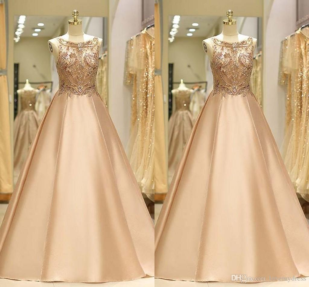 Bling Bling Beading Crystal Cocktail Party Dresses A-line Satin Boat Neckline Prom Dress Long Pageant Dress Women Evening Gowns Elegant Long