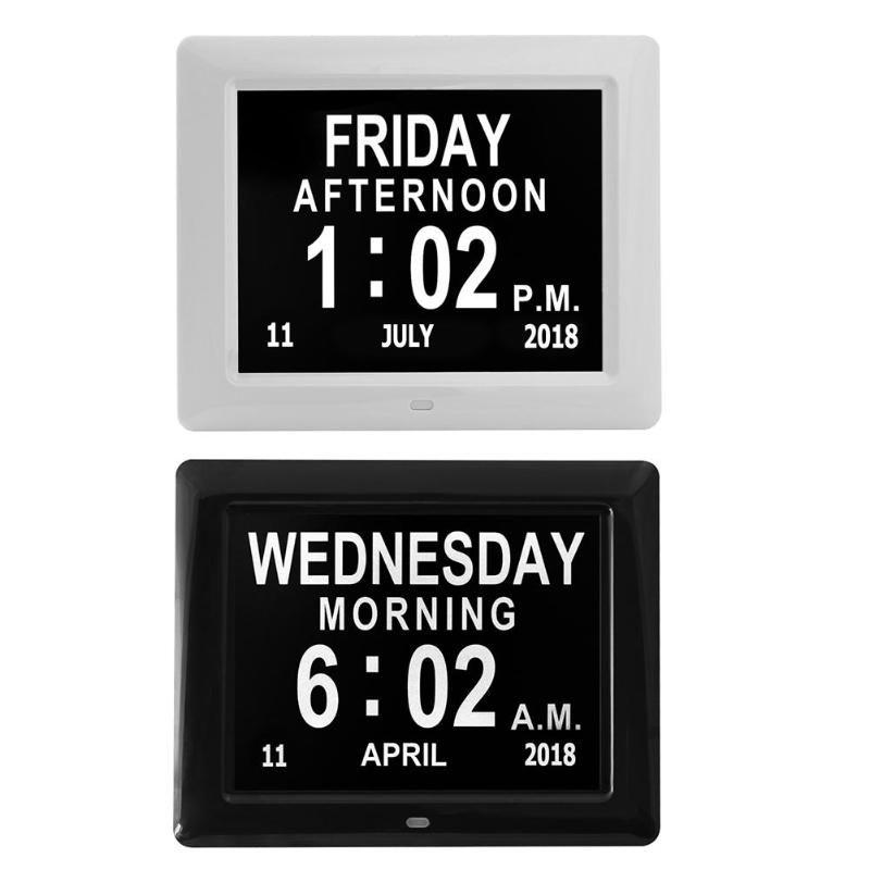 """8 """"بوصة lcd الرقمية إطارات التقويم التاريخ اليوم الوقت ساعة السيارات يعتم 8 لغات hd عرض تذكير الزهايمر eu / لنا قابس"""