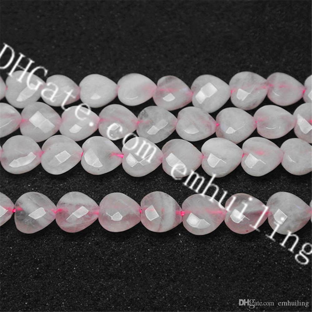 1 filamento de piedras preciosas naturales Cuarzo rosa Perlas de corazón facetadas Parte superior inferior Perforado Rosa Cristal de cuarzo Perlas sueltas de corazón 12 mm, 16 mm, 20 mm Elegir tamaño