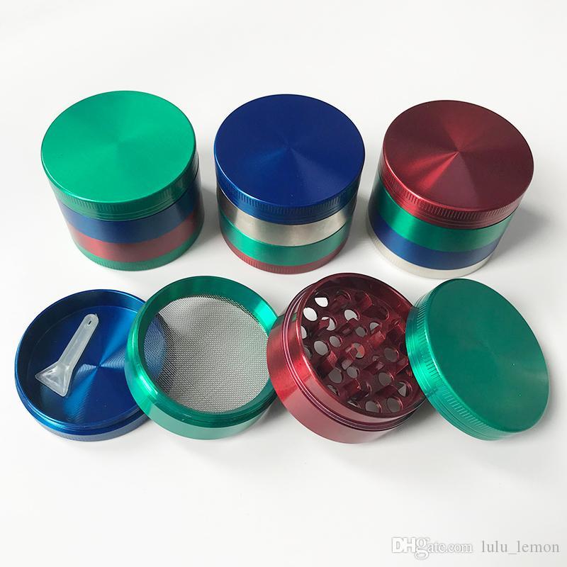 Grinder colorato 55mm diametro 4 strati in lega di zinco macinata in metallo a secco erba spezia pepe tabacco accessori da fumo tabacco logo personalizzato accettato
