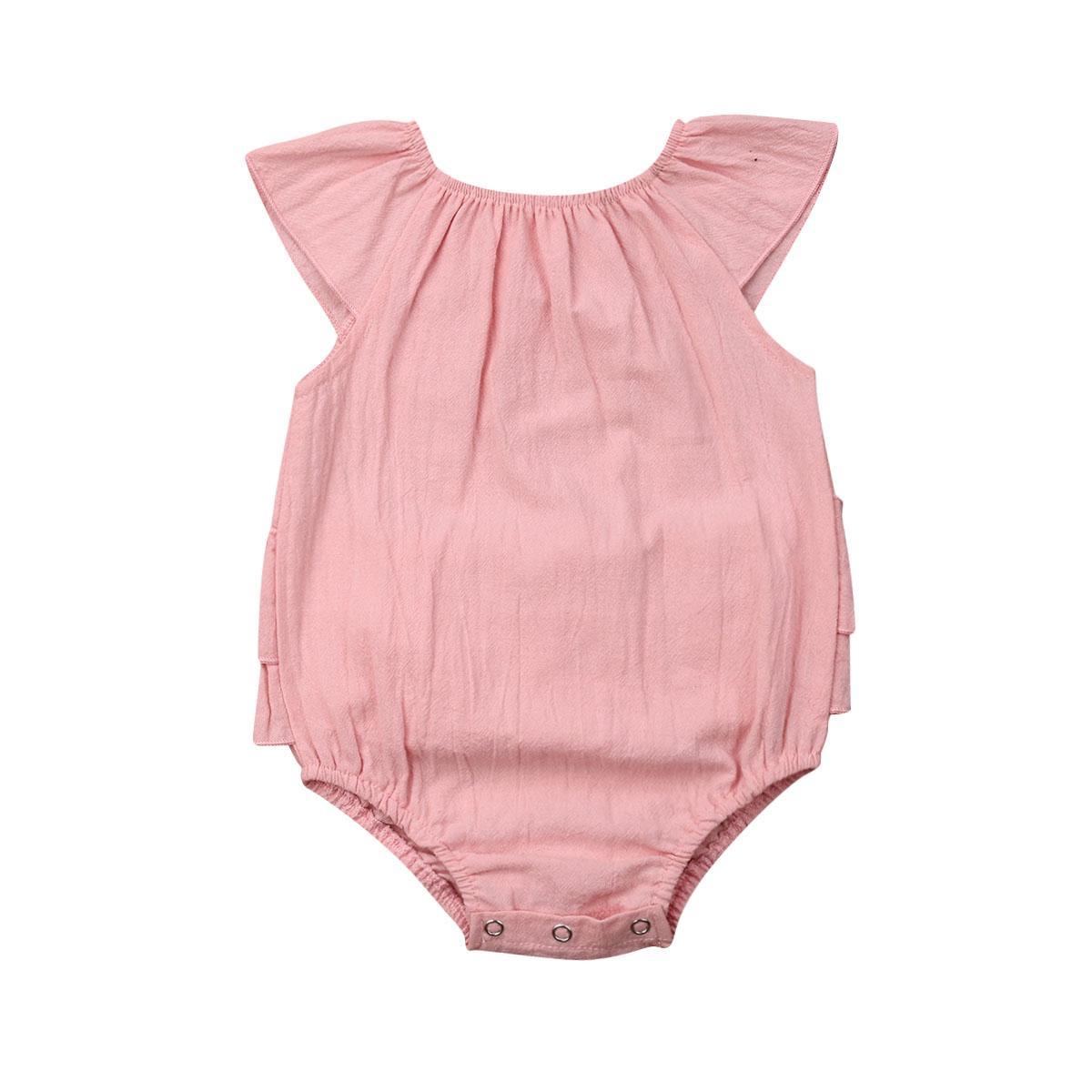 2019 сладких новорожденных девочек розовый комбинезон одежда цельный боди с коротким рукавом летающий рукавом рябить комбинезон летний наряд