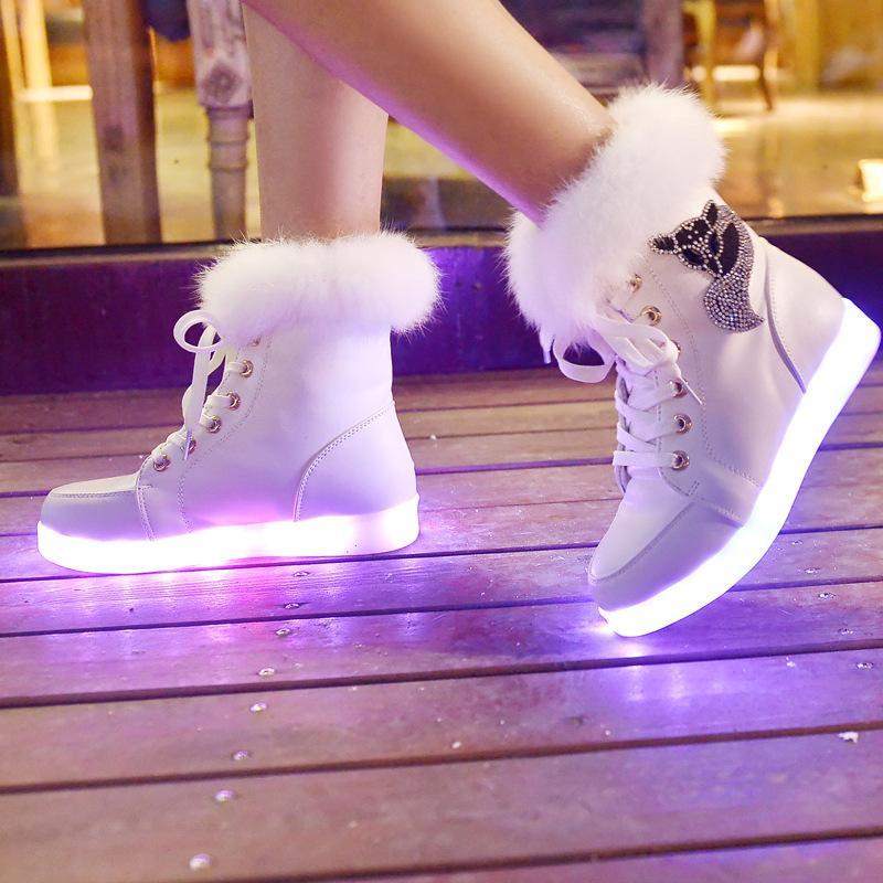 Aydınlık Kadınlar Sneakers Kızlar Led Parlayan Terlik Işıklar Z11-74 ile Kız Kış Kürk Lastik Çizme Bayan Çocuk Shoes