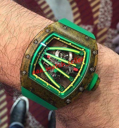 Высококачественные мужские роскошные часы RM59-01 RM59 RM5901 Yohan Blake Outhoorworked Tourbillon Greenyellow Carbon NanoTubes Case Автоматическое движение